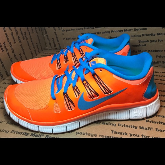new style 51b3a 1b966 Men's Nike Free 5.0 Orange Blue Running Shoes Sz10